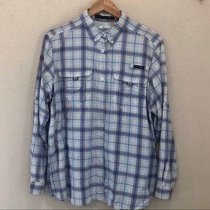 Columbia PFG Long Sleeve Fishing Shirt Plaid L/G